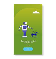 Modern robot walking dog house helper bot vector