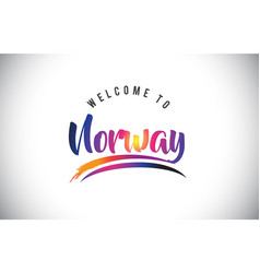 Norway welcome to message in purple vibrant vector