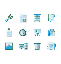 office accessories flat color icons set vector image