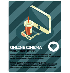 online cinema color isometric poster vector image