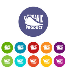 Organic bio product icons set color vector