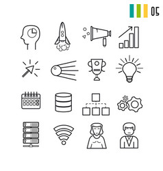 Outline seo and business startup icons vector