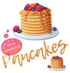 pancakes with berries and honey icon vector image