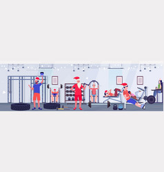 People and santa claus doing exercises men women vector