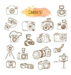 Photo Cameras Hand Drawn vector