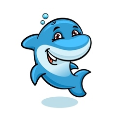 Playful cartoon blue atlantic bottlenose dolphin vector image