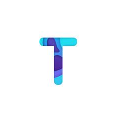 realistic paper cut letter t vector image