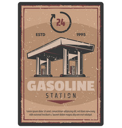 Retro poster of gasoline station service vector