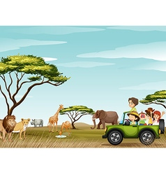Roadtrip in field full animals vector