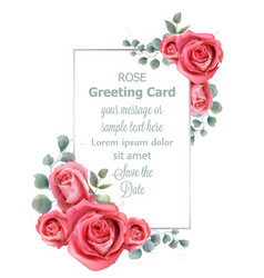 Rose flowers wedding card watercolor vector