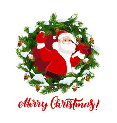 santa claus and fir branches christmas vector image