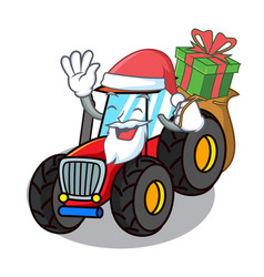 Santa with gift tractor mascot cartoon style vector