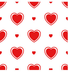 seamless pattern with red hearts isolated on white vector image vector image