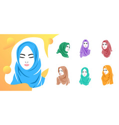 set beautiful woman wearing colorful hijab icon vector image