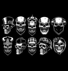 set different skulls vector image