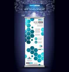 Set of advertisement roll up business flyers or vector