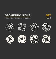 Set of eight minimalistic trendy shapes stylish vector