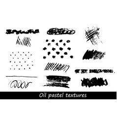 set of oil pastel brush strokes and design vector image