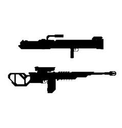 set weapons concept sniper rifle grenadegun vector image