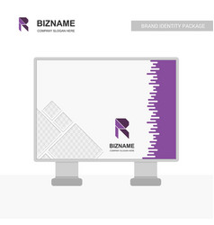 sign board with company r logo design vector image