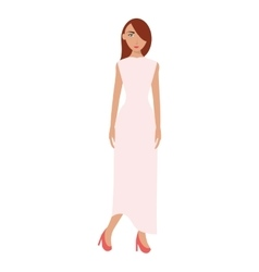 Single woman with long dress icon vector