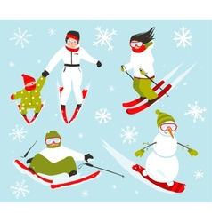 Skier Snowboarder Snowflakes Winter Sport Set vector image