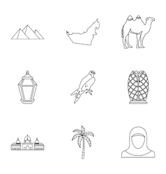 Stay in UAE icons set outline style vector image