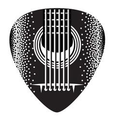 Stylish monochrome plectrum for guitar vector