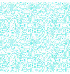 summer travel line seamless pattern vector image