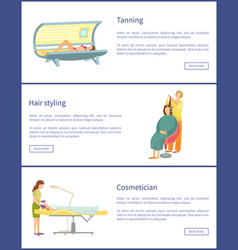 Tanning and hair styling style posters set vector