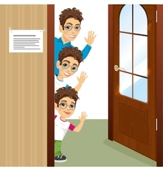 Three brothers peeking of the door waving vector