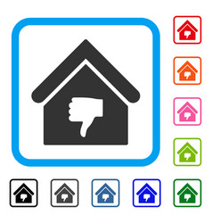 Thumb down building framed icon vector