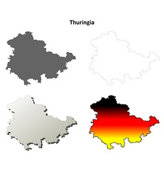 Thuringia blank outline map set vector image