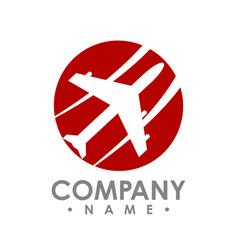 Travel agency logo design idea with airplane vector
