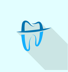 trendy tooth logo icon flat style vector image
