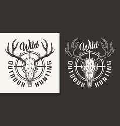 Vintage hunting monochrome logo vector