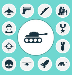 Warfare icons set collection of fugitive rocket vector