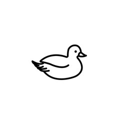 web line icon duck black on white background vector image