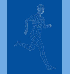 Wireframe running woman vector