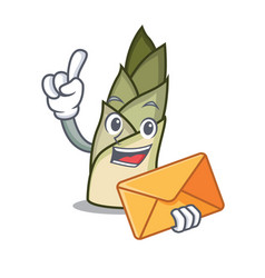 With envelope bamboo shoot character cartoon vector