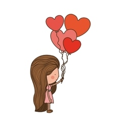Woman walking with heart shaped balloons vector