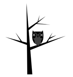 Abstract tree with stylized owl vector image vector image
