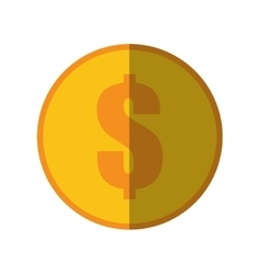 coin dollar money currency icon color shadow vector image