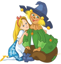 dorothy and scarecrow wizard of oz cartoon vector image