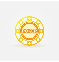Poker chip gold icon vector image