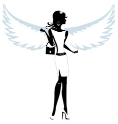 Silhouette of a Pretty Young Woman Angel vector image vector image