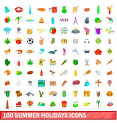 100 summer holidays icons set cartoon style vector image vector image