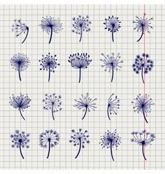 Ball pen dandelion sketch collection vector image vector image