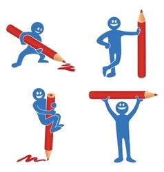 blue stick figure vector image vector image