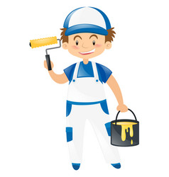 happy carpenter with yellow paint vector image